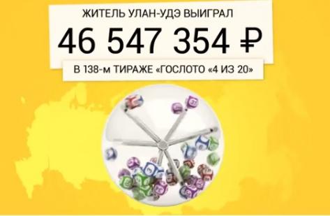 Житель Улан-Удэ выиграл в лотерею 46,5 млн. рублей