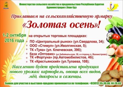 """В Улан-Удэ на 6 площадках пройдет ярмарка """"Золотая осень"""""""